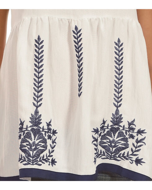 Polagram Women's White Embroidered Top , White, hi-res
