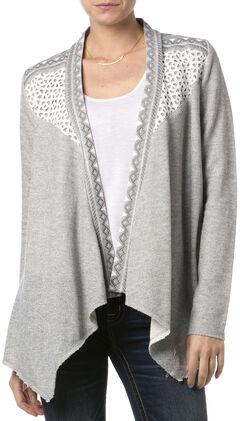 Miss Me Women's Crochet Dolce Cardigan, Hthr Grey, hi-res