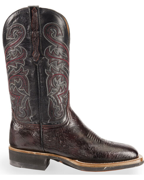 Lucchese Men's Black Cherry Lance Smooth Ostrich Western Boots - Square Toe , Black Cherry, hi-res