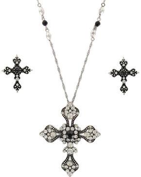 Shyanne Women's Vintage Cross Jewelry Set, Silver, hi-res