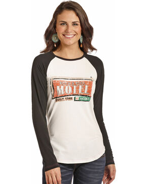 Rock & Roll Cowgirl Women's White Motel Sign Baseball Tee , White, hi-res