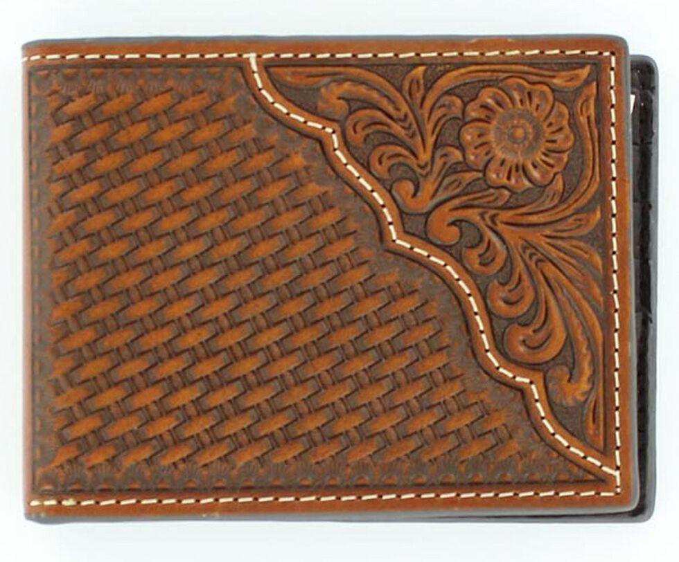 Nocona Basketweave w/ Tooled Overlay Bi-fold Wallet, Tan, hi-res