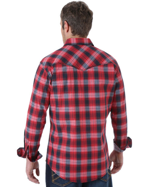 Wrangler Men's 20X Red and Black Plaid Western Shirt , Red, hi-res