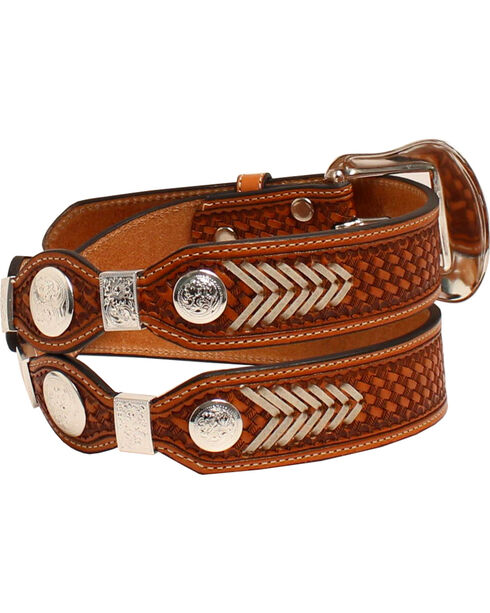 Nocona Men's Conchos Leather Western Belt , Brown, hi-res