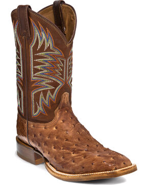 Justin Men's Full Quill Ostrich Cowboy Boots - Square Toe, Brown, hi-res