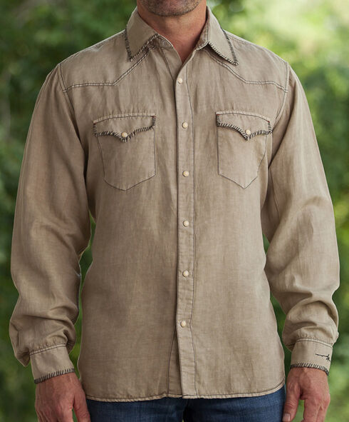 Ryan Michael Men's Tan Silk Linen Sawtooth Snap Shirt, Tan, hi-res