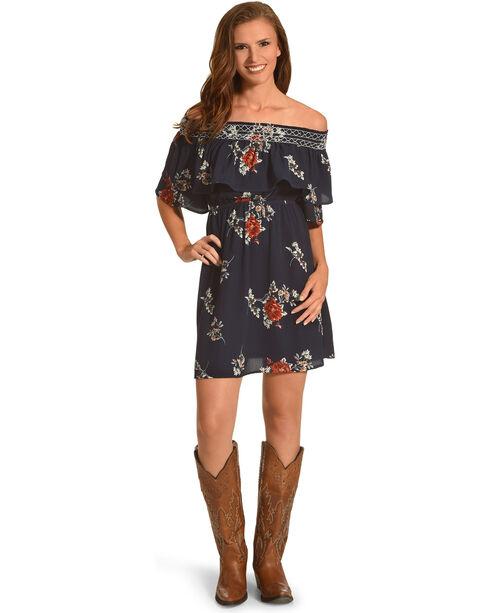Polagram Women's Off the Shoulder Floral Print Dress, Navy, hi-res