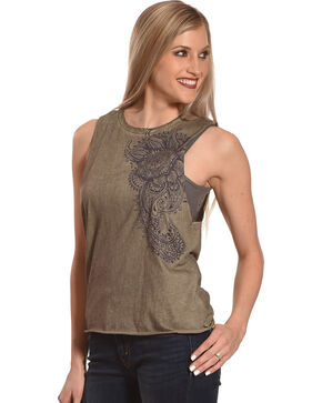 Others Follow Women's Sage Henna Floral Tank Top , Sage, hi-res