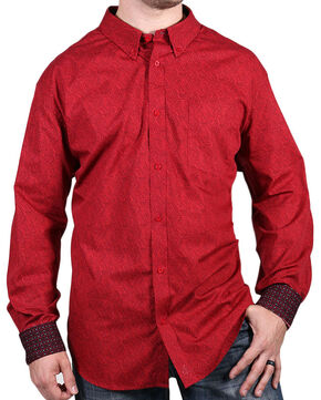 Cody James Core Men's Red Print Long Sleeve Shirt, Red, hi-res