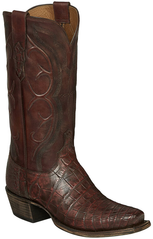 Lucchese Handmade Brick Giant Gator Van Cowboy Boots - Square Toe, Dark Brown, hi-res