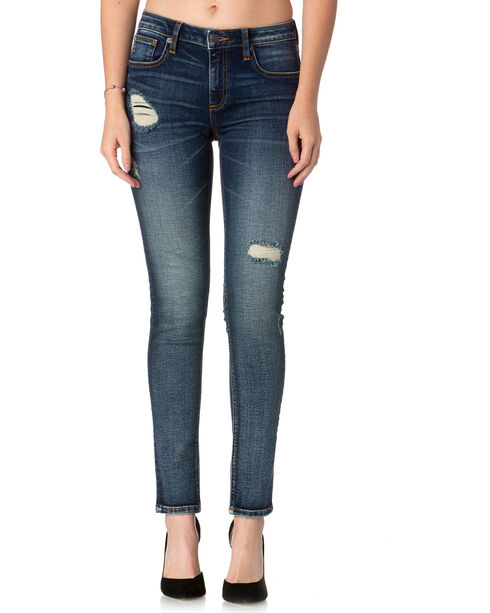 Miss Me Women's Indigo Fresh Fleur Slim Fit Jeans - Boot Cut , Indigo, hi-res