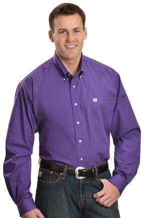 Cinch Men's Solid Purple Button-Down Western Shirt - 3XL, Purple, hi-res