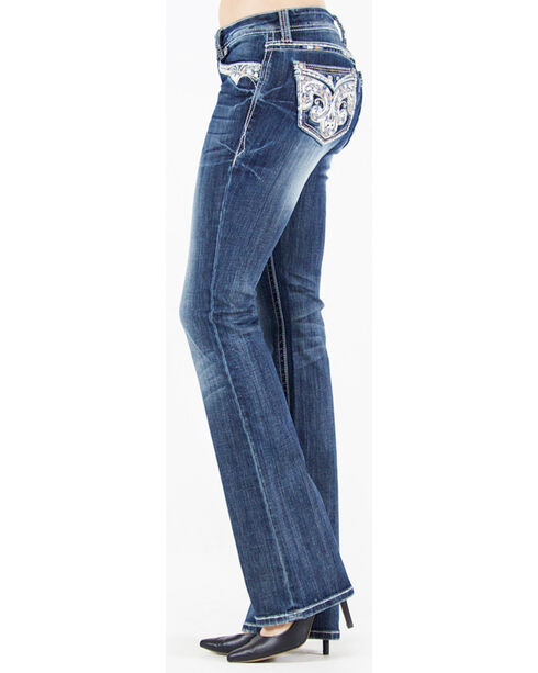 Grace in La Women's Medium Blue Fleur De Lis Jeans - Boot Cut , Medium Blue, hi-res