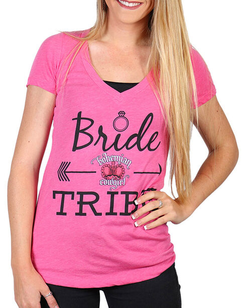 Bohemian Cowgirl Women's Bride Tribe Graphic Tee, Pink, hi-res