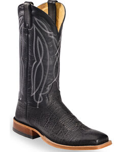Tony Lama Men's Flat Black Cow Foot Cowboy Boots - Square Toe, Black, hi-res