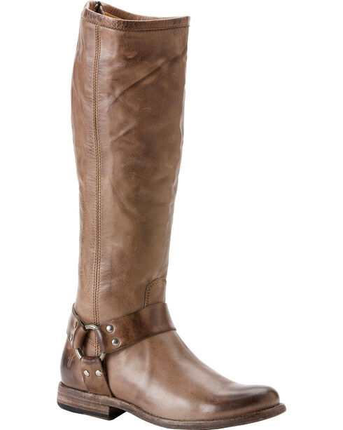 Frye Women's Phillip Harness Riding Boots - Round Toe, Grey, hi-res