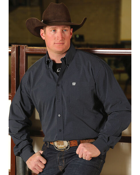 Cinch Men's Classic Fit Navy Printed Plain Weave Button Down Shirt, Navy, hi-res