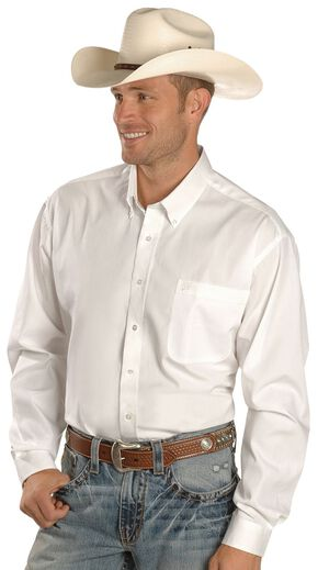 Cinch Men's Solid White Button-Down Western Shirt - 3XL, White, hi-res