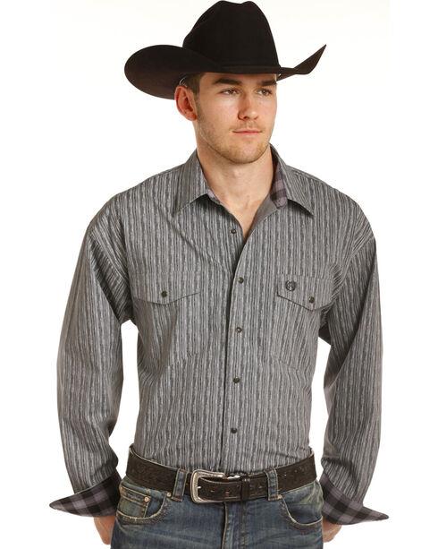 Panhandle Men's Grey Striped Pattern Western Shirt , Grey, hi-res