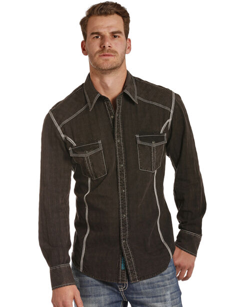 Rock & Roll Cowboy Men's Black Satin Western Shirt , Black, hi-res