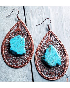 Jewelry Junkie Women's Copper Filigree Turquoise Chunk Earrings , Rust Copper, hi-res