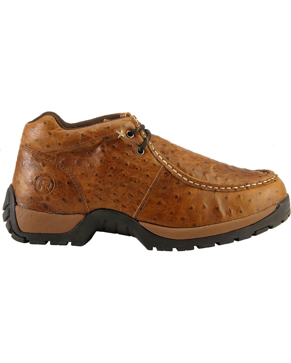 Roper Men's Ostrich Print Rugged Sole Shoes, Brown, hi-res