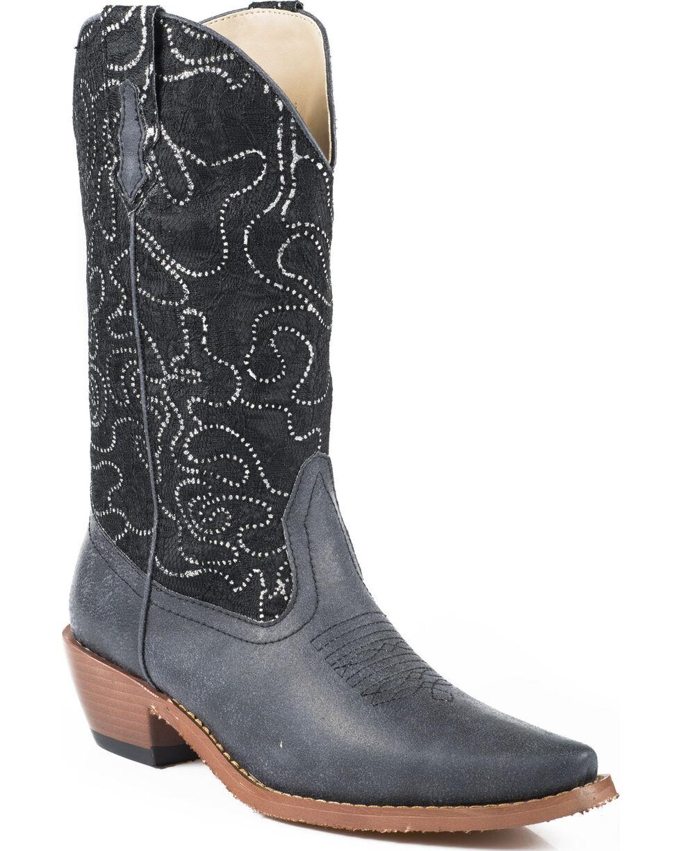 Roper Women's Crystal Lace Shaft Boots - Snip Toe, Black, hi-res