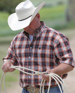 Cinch Men's Multi Cream Buttons Short Sleeve Shirt , Multi, hi-res