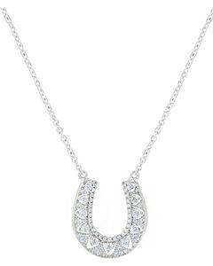 Montana Silversmiths Women's Silver Rhinestone Horseshoe Necklace , Silver, hi-res