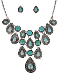 Shyanne Women's Teardrop Concho Jewelry Set, Silver, hi-res