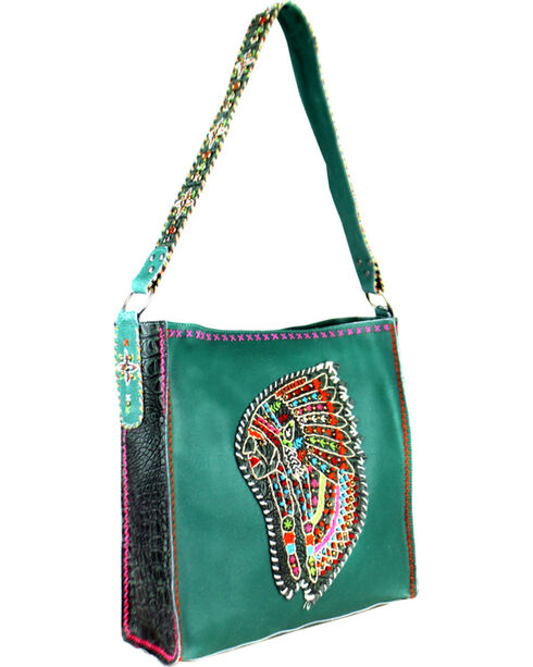 Montana West Women's Delila Leather Embroidered Indian Chief Tote Bag, Turquoise, hi-res