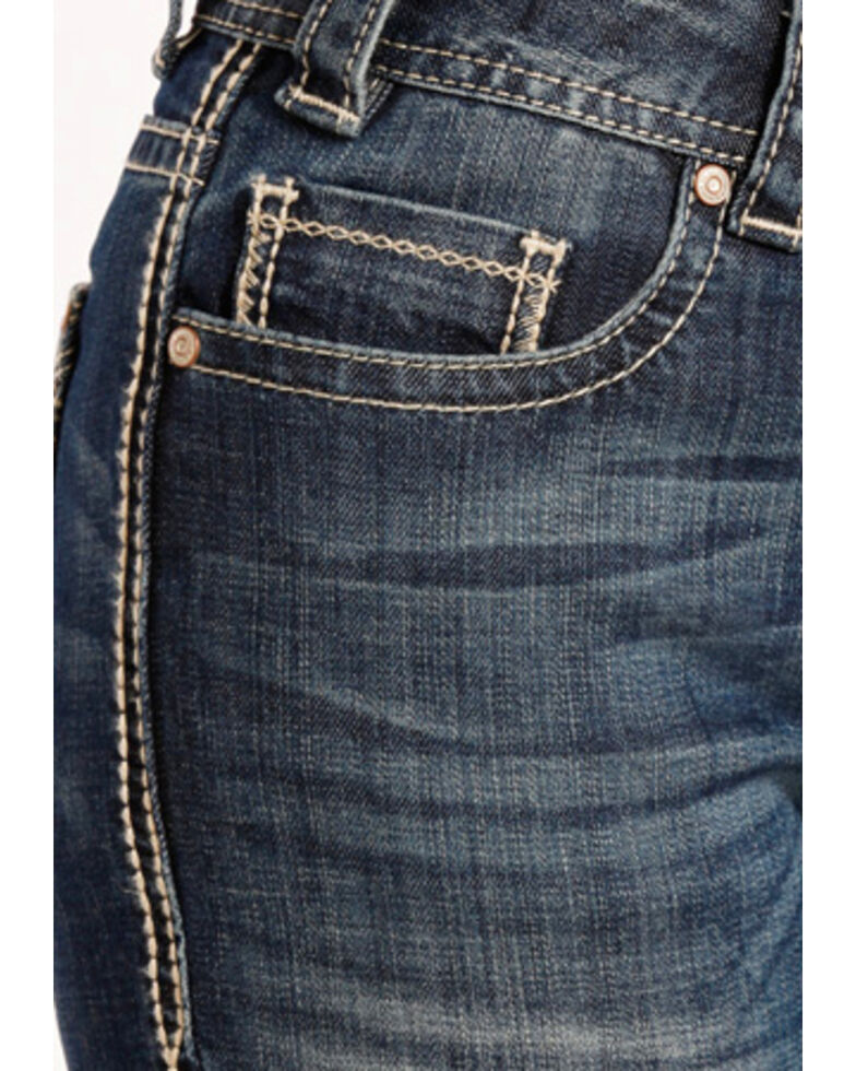 rock roll cowgirl women s blue angle stitched jeans boot cut