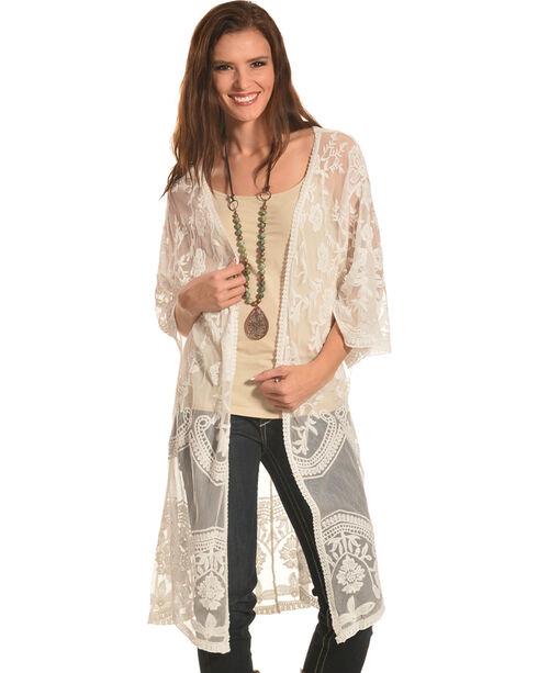 Polagram Women's Ivory Lace Kimono, White, hi-res