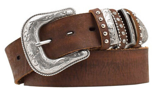 Nocona Bedecked Multi Keeper Leather Belt, Brown, hi-res