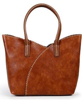 Shyanne Women's Whipstitch Shoulder Bag, Brown, hi-res