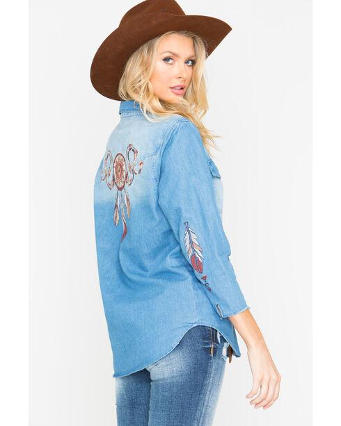 Miss Me Women's Indigo Embroidered Denim Snap Shirt , Indigo, hi-res