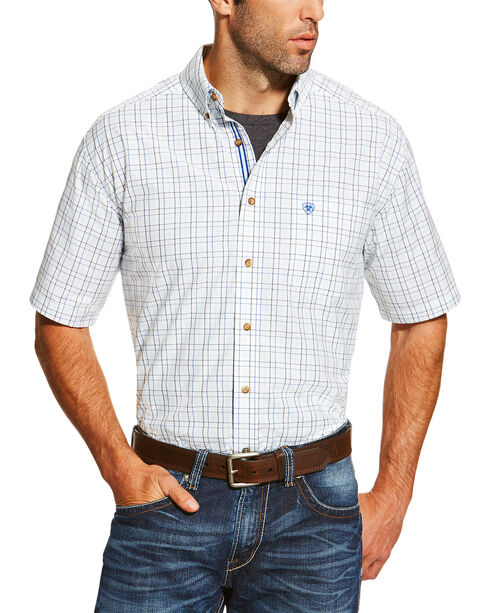Ariat Men's White Irby Short Sleeve Plaid Shirt , White, hi-res