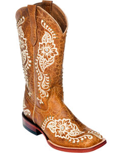 Ferrini Wild Flower Cowgirl Boots - Square Toe, , hi-res