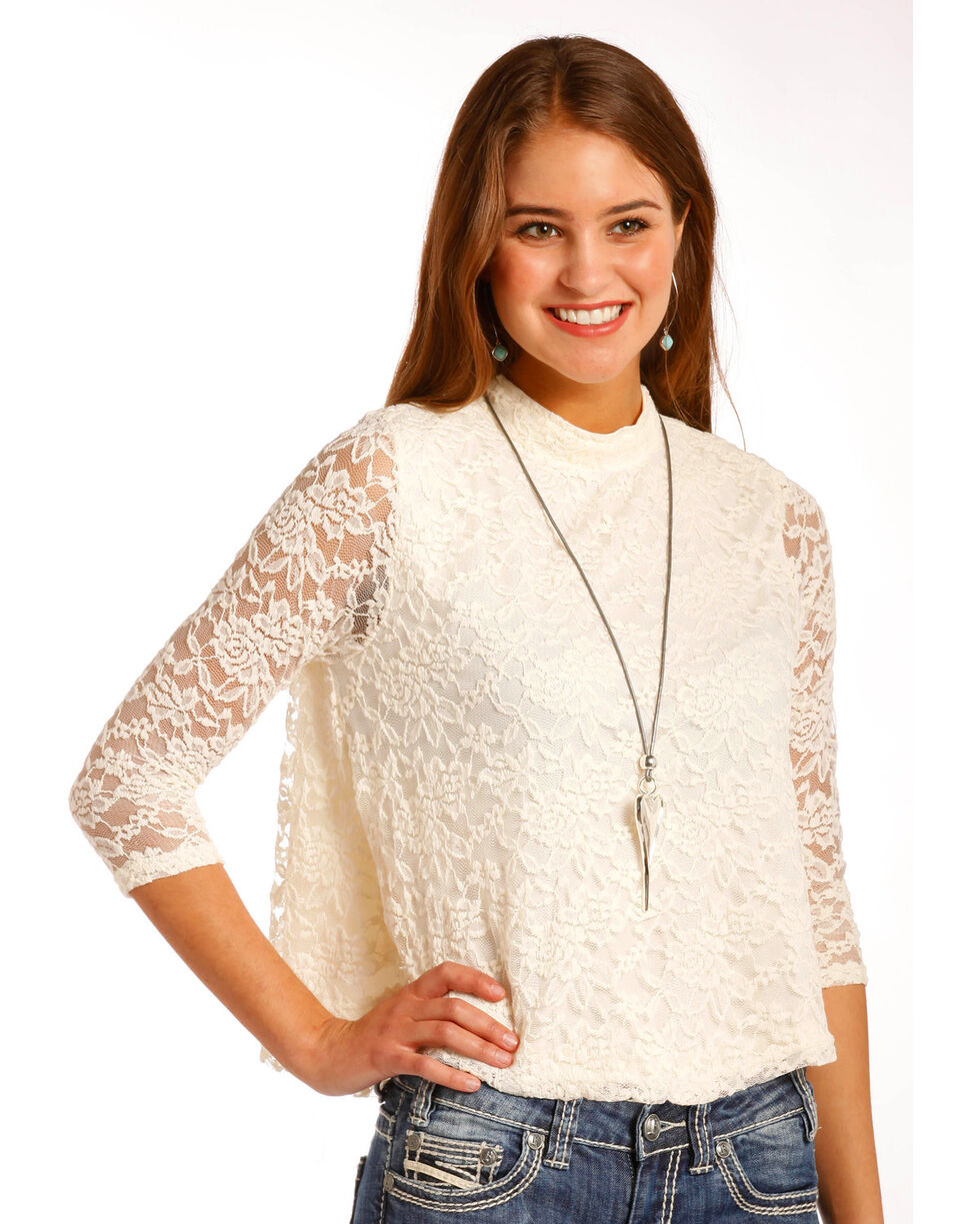 Panhandle Women's Lace Swing Top, White, hi-res