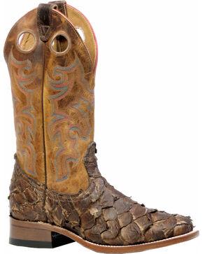 Boulet Men's Seal Brown Pirarucu Fish Cowboy Boots - Square Toe, Brown, hi-res