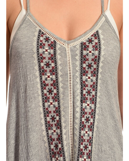 Shyanne Women's Embroidered Racerback Tank , Heather Grey, hi-res