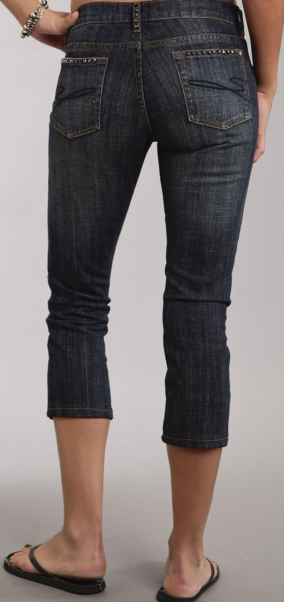 Stetson 541 Stovepipe Cropped Studded Jeans, , hi-res