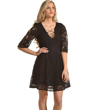 Young Essence Women's 3/4 Sleeve Lace Dress, Black, hi-res