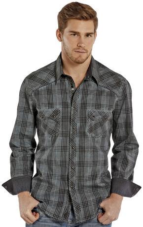 Rock and Roll Cowboy Indigo Wash Plaid Western Snap Shirt , Grey, hi-res