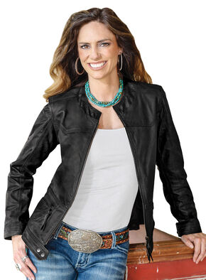 STS Ranchwear Women's Douglas Black Leather Jacket - Plus - 2XL, Black, hi-res