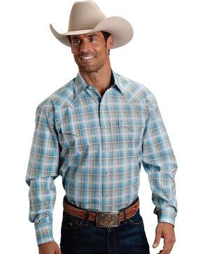 Stetson Men's Blue Sage Plaid Long Sleeve Snap Shirt, Blue, hi-res