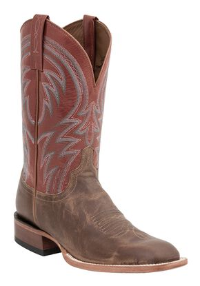 Lucchese Handcrafted 1883 Alan Smooth Cowboy Boots - Square Toe, Tan, hi-res