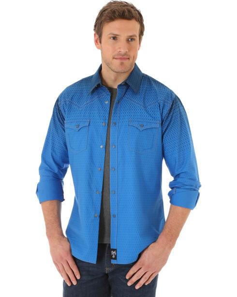 Wrangler Rock 47 Men's Blue Print Long Sleeve Shirt , Blue, hi-res