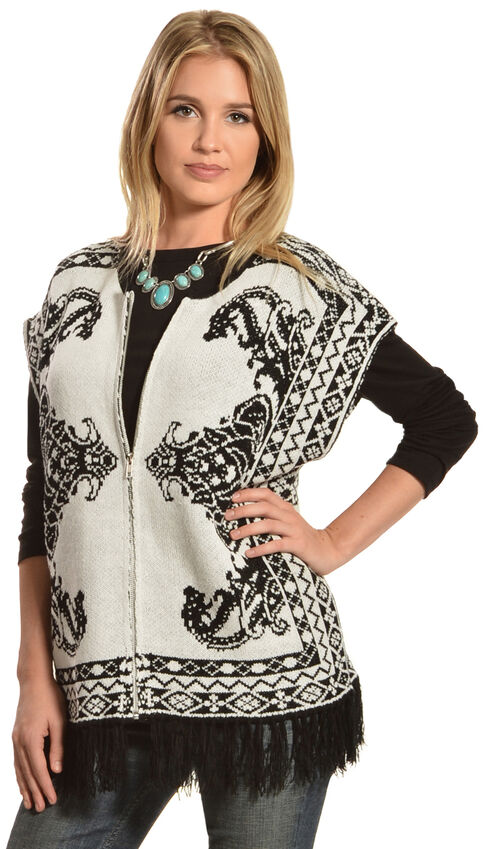 Flying Tomato Women's Fringe Sweater Vest, Black, hi-res