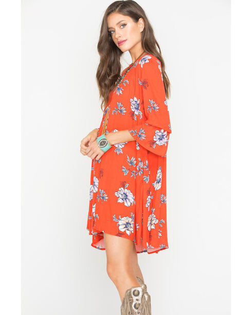 Polagram Women's Red Floral Patterned Dress , Red, hi-res